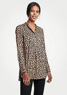 Ann Taylor Cheetah Dot Bib Tunic Top