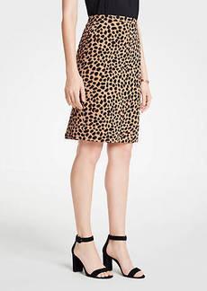 Ann Taylor Cheetah Dot Flounce Back Pencil Skirt