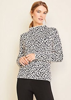 Ann Taylor Cheetah Print Funnel Neck Sweater