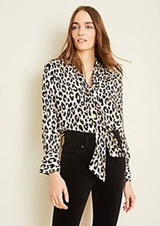 Ann Taylor Cheetah Print V-Neck Bow Blouse