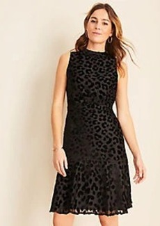 Ann Taylor Cheetah Velvet Mock Neck Sheath Dress