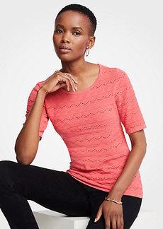 Ann Taylor Chevron Short Sleeve Sweater
