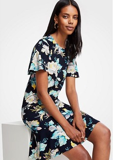 Ann Taylor Chinoiserie Tropics Flounce Shift Dress