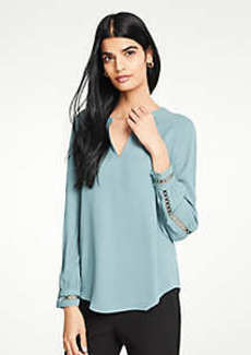 Ann Taylor Circle Lace Trim Popover Blouse