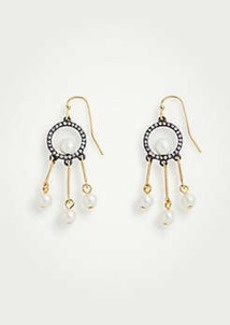 Ann Taylor Circle Pearlized Tassel Drop Earrings