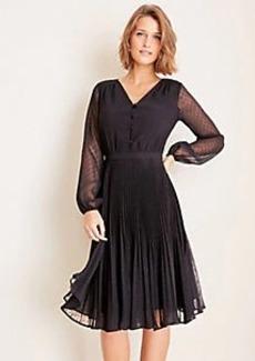 Ann Taylor Clip Dot Pleated Flare Dress