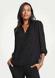 Ann Taylor Clip Dot Split Neck Blouse