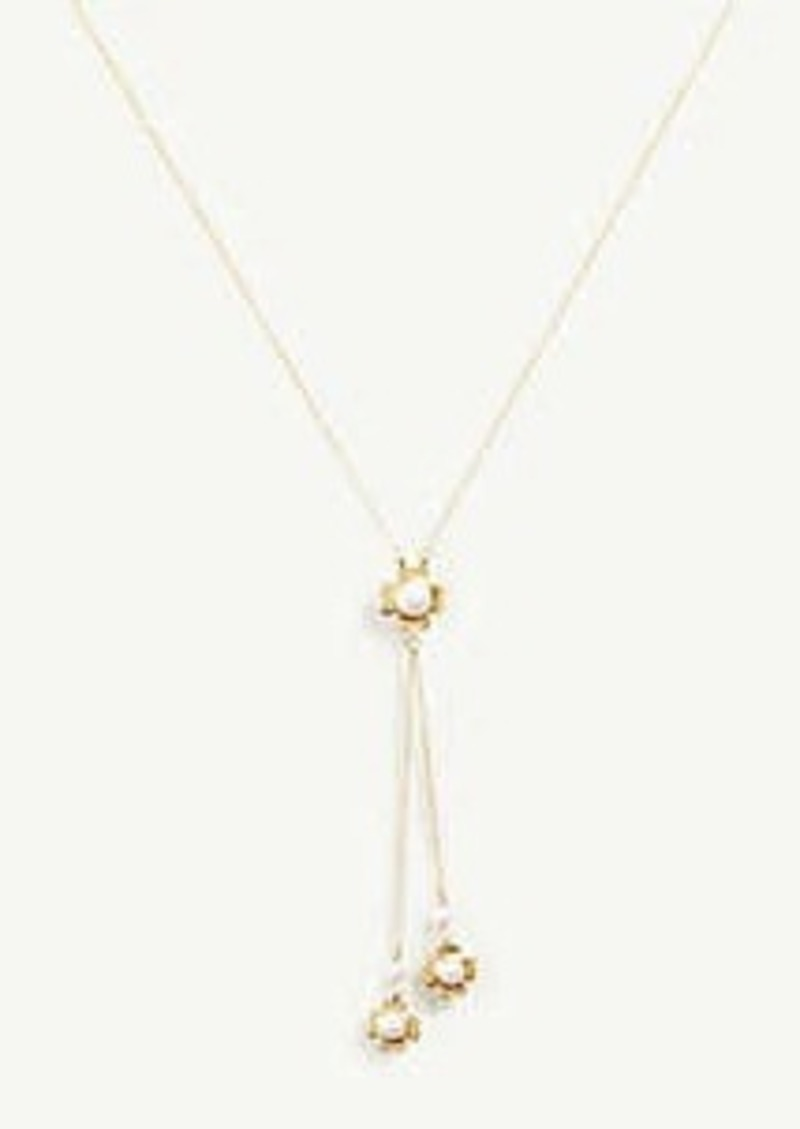 Ann Taylor Clover Pearlized Double Pendant Necklace