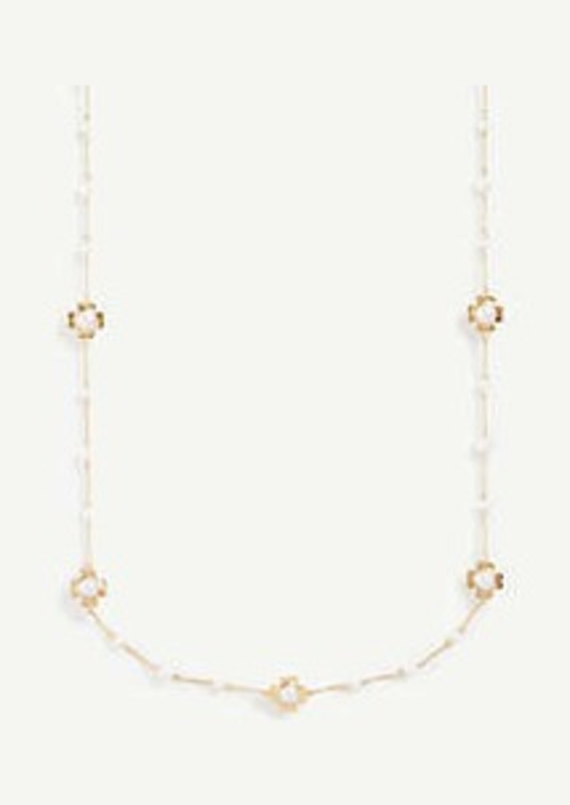 Ann Taylor Clover Pearlized Station Necklace