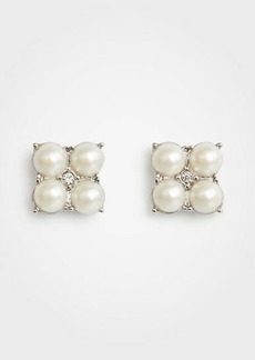 Ann Taylor Clover Pearlized Stud Earrings