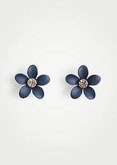 Ann Taylor Coated Metallic Flower Stud Earrings