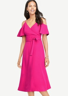 Ann Taylor Cold Shoulder Faux Wrap Dress