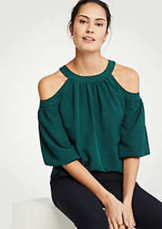Ann Taylor Cold Shoulder Tie Back Top
