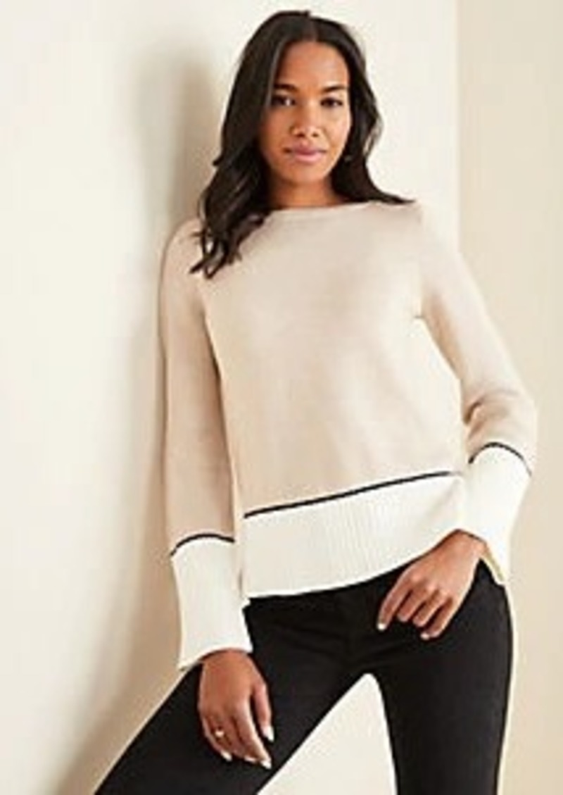 Ann Taylor Colorblock Boatneck Sweater