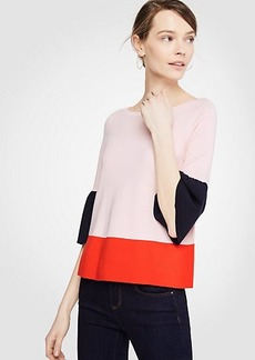 Ann Taylor Colorblock Flare Cuff Sweater