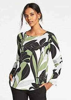 Ann Taylor Colorblock Floral Boatneck Top
