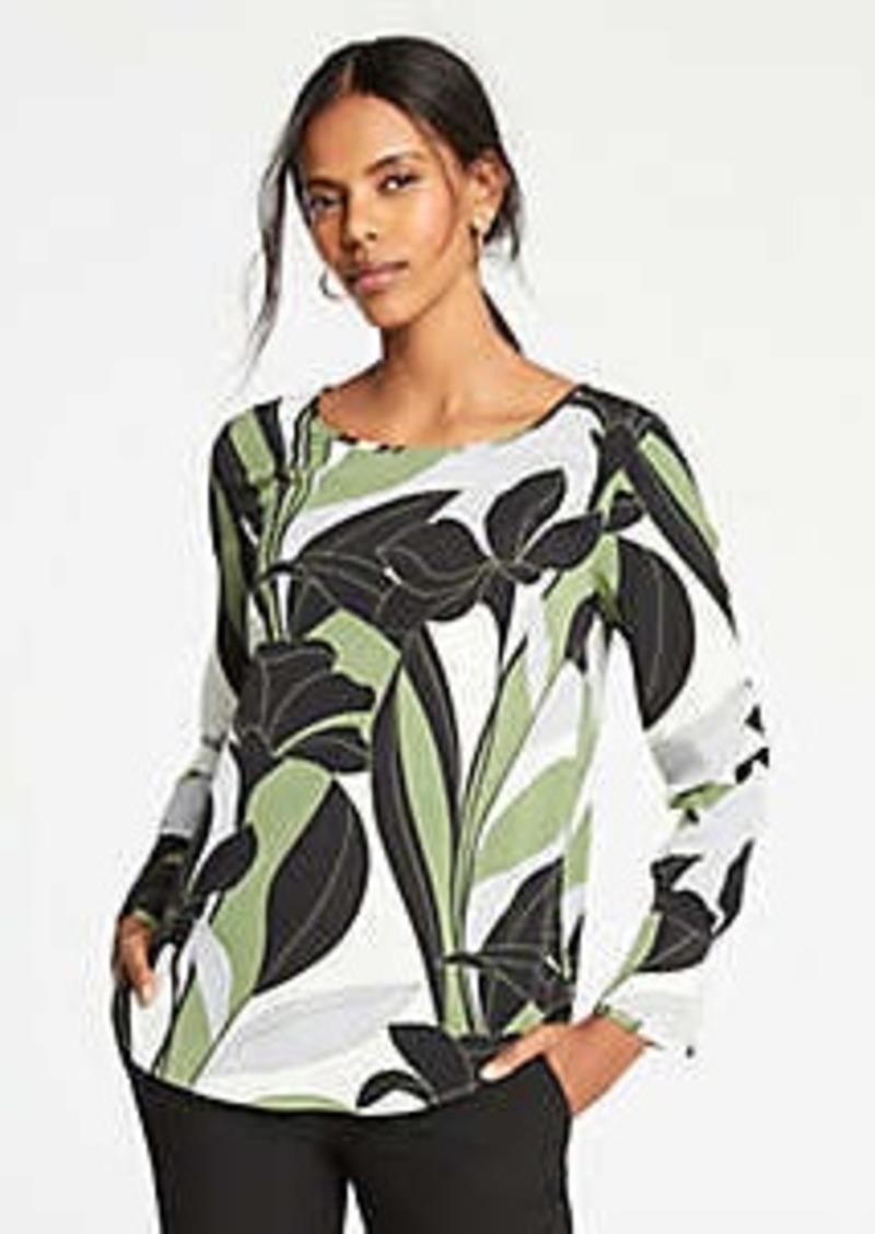 Ann Taylor Colorblock Floral Boatneck Top