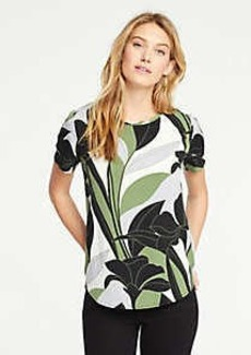 Ann Taylor Colorblock Floral Mixed Media Tee