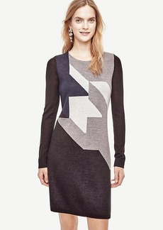Ann Taylor Colorblock Houndstooth Sweater Dress