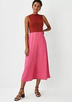 Ann Taylor Colorblock Mixed Media Flare Dress