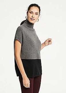 Ann Taylor Colorblock Mock Neck Poncho