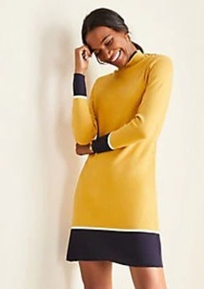 Ann Taylor Colorblock Mock Neck Sweater Dress