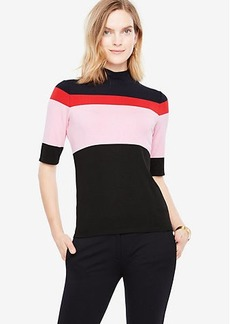Colorblock Mock Neck Top