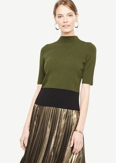Colorblock Ribbed Mock Neck Sweater