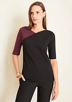 Ann Taylor Colorblock V-Neck Ponte Top