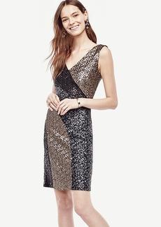 Colorblocked Sequin Sheath Dress