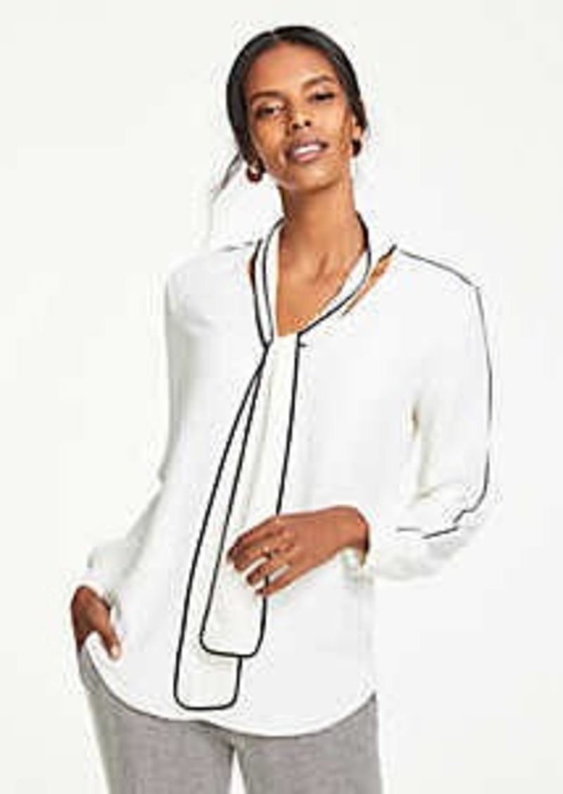 Ann Taylor Contrast Tipped Tie Neck Blouse