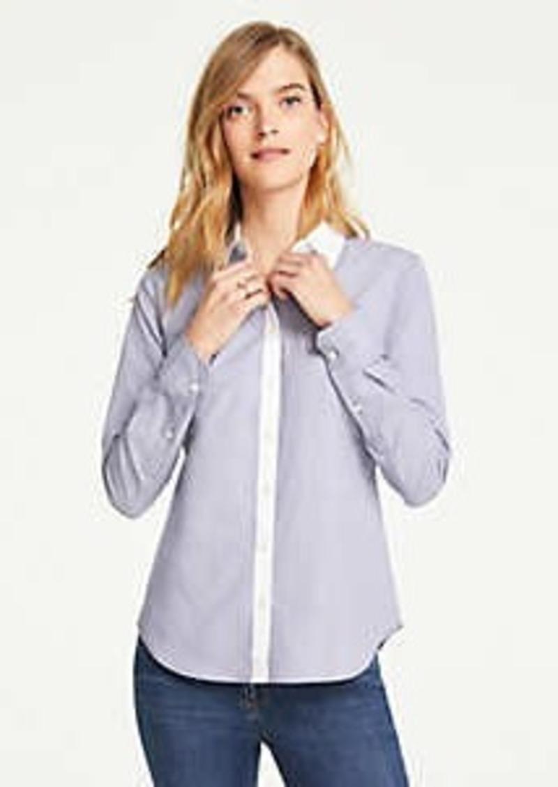 Ann Taylor Contrast Trim End On End Cotton Perfect Shirt