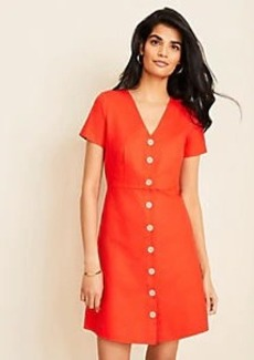 Ann Taylor Cotton Linen Button Flare Dress