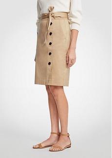 Ann Taylor Cotton Sateen Button Front Pencil Skirt