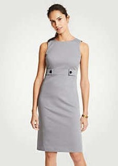 Ann Taylor Cotton Sateen Button Tab Sheath Dress