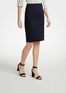 Ann Taylor Cotton Sateen Button Tab Skirt