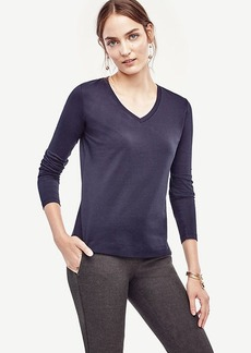 Cotton V-Neck Long Sleeve Tee