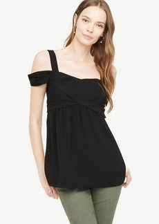 Crepe Cold Shoulder Wrap Top