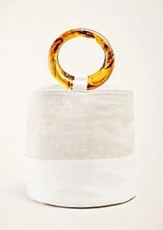 Ann Taylor Crocodile Print Tassel Bucket Bag