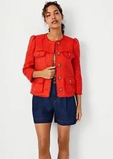 Ann Taylor Cropped Fringe Tweed Jacket