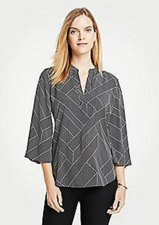 Ann Taylor Cross Stripe Split Neck Bell Sleeve Blouse