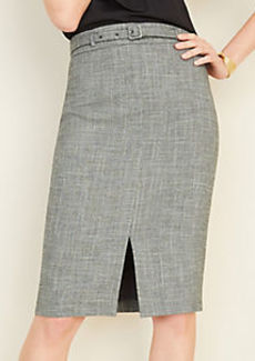 Ann Taylor Crosshatch Belted Pencil Skirt
