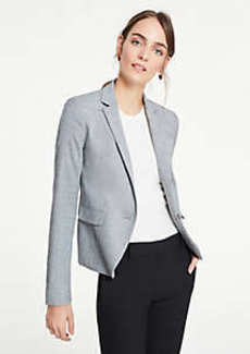 Ann Taylor The 1-Button Blazer in Crosshatch