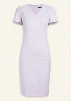 Ann Taylor Crosshatch Puff Sleeve Sheath Dress