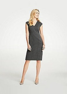 Ann Taylor Crosshatch V-Neck Sheath Dress