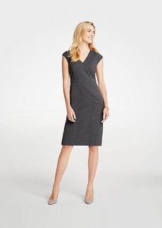 Ann Taylor Crosshatch V-Neck Sheath Dress