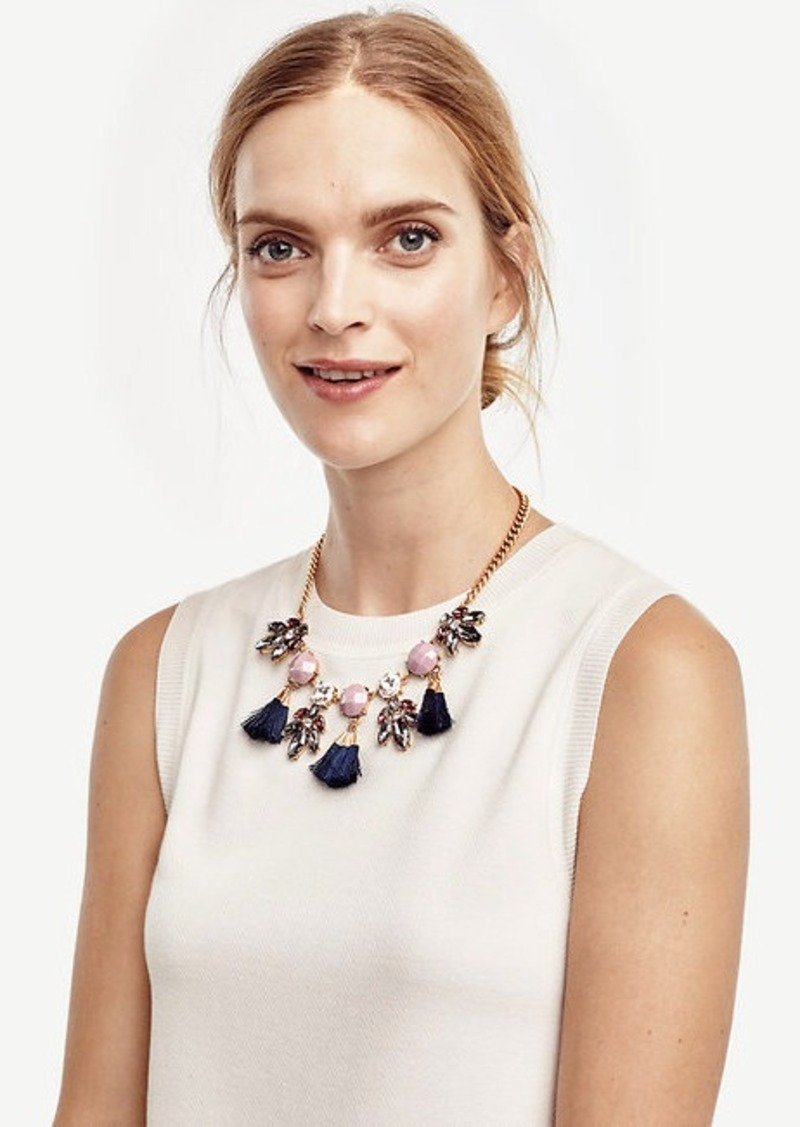 Ann Taylor Crystal Burst Tassel Necklace