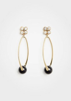 Ann Taylor Crystal Clover Hoop Earrings