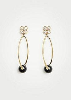 Ann Taylor Crystal Clover Hoop Earrings