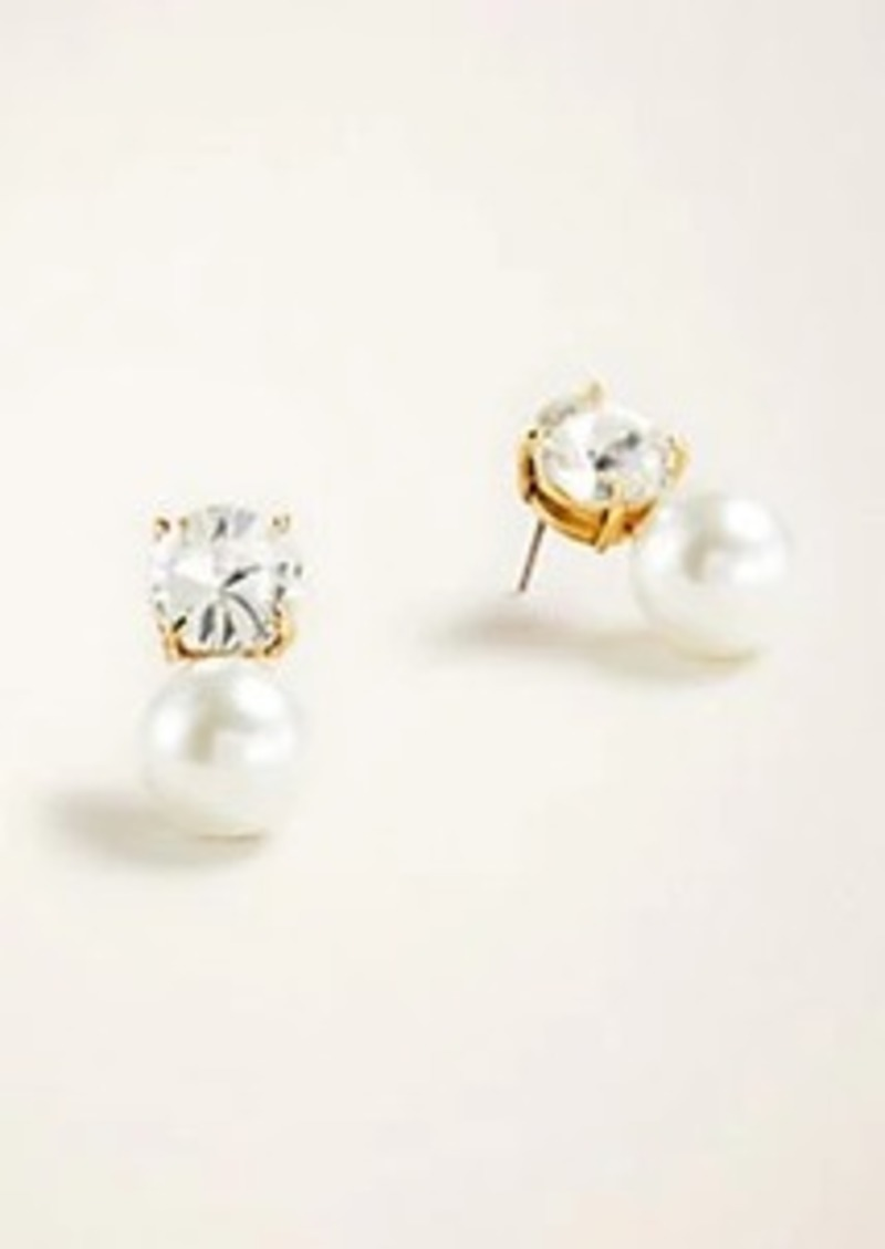 Ann Taylor Crystal Pearlized Drop Earrings